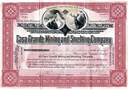 Casa Grande Mining and Smelting Company (Antlered Deer  Vignette)  - Pinal Co., Arizona 1902