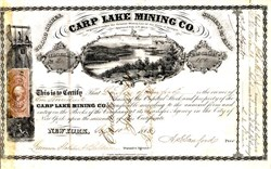 Carp Lake Mining Company - Ontonagon, Michigan 1863