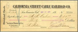 California Street Cable Railroad Company 1890's signed by J. B. Stetson