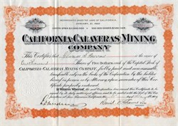 California-Calaveras Mining Company issued to Clarence S. Darrow -  California 1907