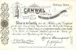 Camwal Limited 1898 - England ( Early Bottle Water Company )