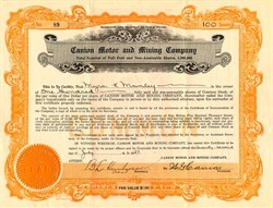Canion Motor and Mining Company - Colorado 1927