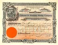 Calumet & Montana Mining Company - Minnesota 1915