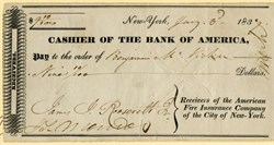 Cashier of the Bank of America signed as Receivers of American Fire Insurance Company - Signed by James Roosevelt - 1837