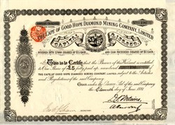 Cape of Good Hope Diamond Mining Company, Limited Founders Share - England 1881
