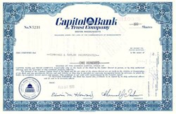 Capitol Bank and Trust Company Stock