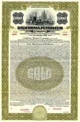 California Petroleum Corporation $1000 Specimen Gold Bond - (Acquired by Texaco in 1928) - 1926