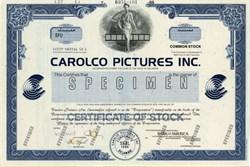 Carolco Motion Pictures Company Specimen Stock Certificate - RAMBO / Terminator Movie Company
