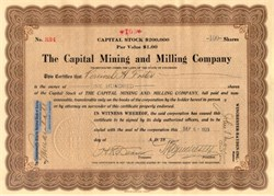 Capital Mining and Milling Company 1923