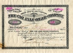 Car Axle Oiler Company - Pennsylvania 1884