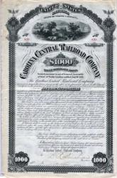 Carolina Central Railroad Company signed by David Reid Murchison  - North Carolina 1881