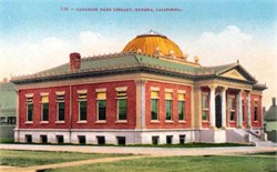 Carnegie Free Library, Eureka, California Postcard