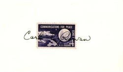 Carl T. Rowan Autograph on 4 Cent Stamp