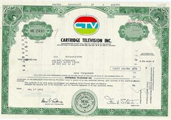 Early Cartridge Television Company Stock Certificate