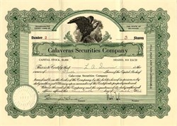 Calaveras Securities Company - Delaware 1922