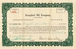 Campbell's Oil Company -  Tarrant County, Texas 1923