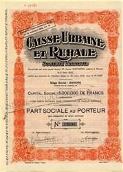 Caisse Urbaine Erurale - France 1935