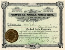 Central Cycle Company ( made bicycles and tricycles ) - Pennsylvania 1892