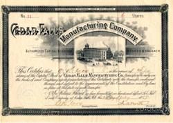 Cedar Falls Manufacturing Company 1896 - North Carolina - signed by John Milton Worth