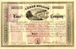 Cedar Hollow Lime Company - Philadelphia, Pennsylvania 1856