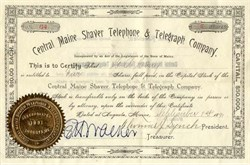 Central Maine Shaver Telephone & Telegraph Company - 1891