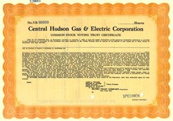 Central Hudson Gas & Electric Corporation Specimen 1937