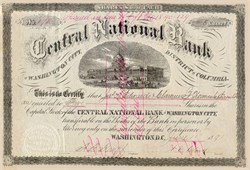 Central National Bank of Washington City, District of Columbia 1890's