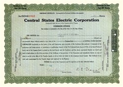 Central States Electric Corporation 1929 - 1930
