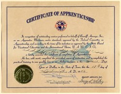 Certificate of Apprenticeship from Braniff International Airways handsigned by Tom E. Braniff  - 1950