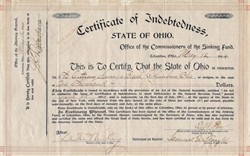 Certificate of Indebtedness hand signed by Governor and future U.S. President, William McKinley  - Ohio 1894