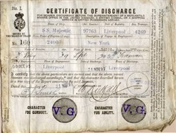 Certificate of Discharge from Ship S.S. Majestic handsigned by Titanic Captain Edward John Smith - England 1895 - SOLD
