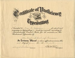 Certificate of Proficiency in Typewriting - Toronto, Canada 1924