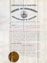 Certificate of Election State of Colorado 1880