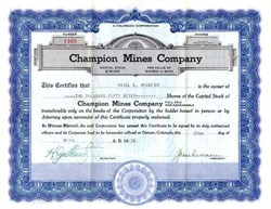 Champion Mines Company - Cripple Creek