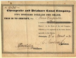 Chesapeake and Delaware Canal Company Stock Certificate - 1850