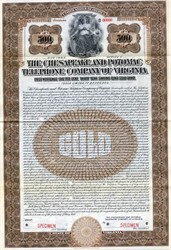 Chesapeake And Potomac Telephone Company of Virginia $500 Gold Bond - Virginia 1913