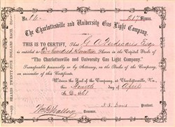 Charlottesville and University Gas Light Company - Virginia 1861