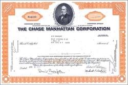 Chase Manhattan Bank Corporation Stock - David Rockefeller as Chairman