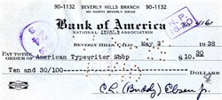 Buddy Ebsen handsigned check - 1938