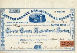 Chester County Agricultural Society (vignette of a woman with cattle) - 1867