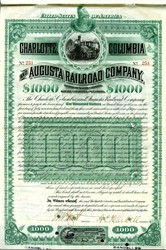 Charlotte, Columbia and Augusta Railroad - $1000 Gold Coin Bond - 1883