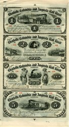 Charlotte, Columbia, Augusta Rail Road $1, $2, $5, and $10 Fare Ticket Uncut Sheet - 1873