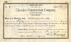 Cherokee Construction Company of the State of Illinois - Illinois 1887