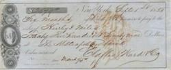 Claflin Ward and Company Check 1853 - Ship Vignette