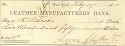 Leather Manufacturers' Bank Check 1851 (Slave Insurance Bank)