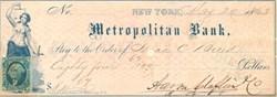Metropolitan Bank Check 1863 - Washington Civil War Era Tax Stamp