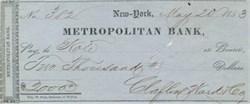 Metropolitan Bank Check 1850's - New York