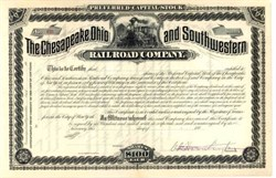 Chesapeake Ohio and Southwestern Railroad Company signed by Collis P. Huntington 1880's