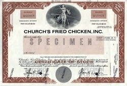 Church's Fried Chicken, Inc. (Specimen Stock Certificate) - Texas 1983