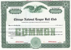 Chicago Cubs - Chicago National League Ball Club - SPECIMEN